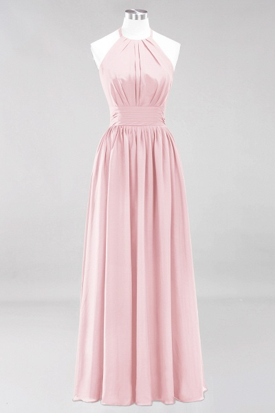 A-line Chiffon Appliques Halter Sleeveless Floor-Length Bridesmaid Dresses with Ruffles_3