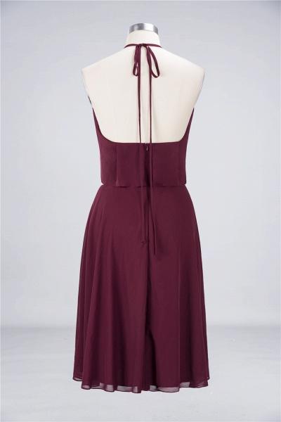 A-Line Chiffon Halter Sleeveless Knee-Length Bridesmaid Dress with Ruffles_9
