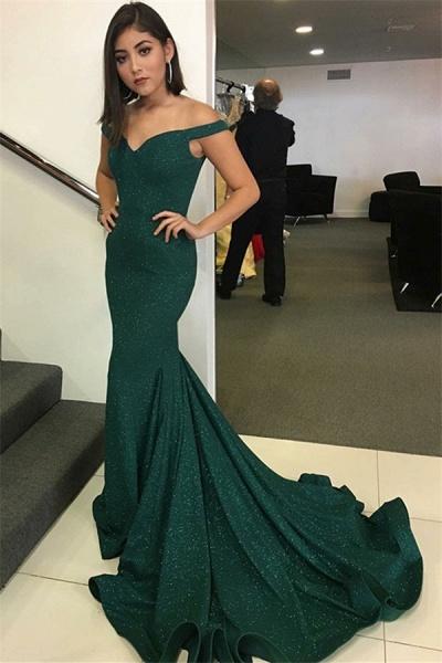 Modest Off-the-shoulder Satin Mermaid Prom Dress_1