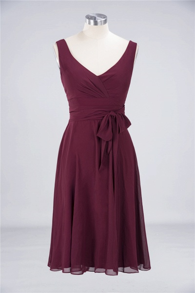 A-Line Chiffon Straps V-Neck Sleeveless Ruffles Knee-Length Bridesmaid Dress with Bow Sash_1