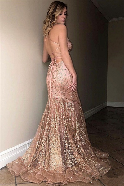 Fascinating Spaghetti Straps Tulle Mermaid Prom Dress_2