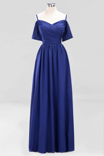 A-Line Chiffon V-Neck Spaghetti Straps Short-Sleeves Floor-Length Bridesmaid Dresses with Ruffles_25