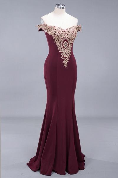 Charming Off-The-Shoulder Floor-Length Mermaid Appliques Zipper Bridesmaid Dress_4