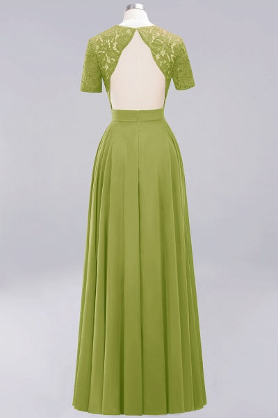 A-Line Chiffon Square Short Sleeves Bridesmaid Dress with Ruffle_23