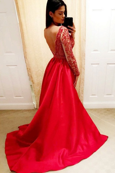 Glorious V-neck Stretch Satin A-line Prom Dress_2