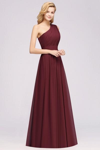 Elegant A-Line Burgundy Chiffon One-Shoulder Sleeveless Ruffles Floor-Length Bridesmaid Dresses_3