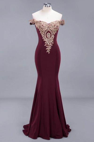 Charming Off-The-Shoulder Floor-Length Mermaid Appliques Zipper Bridesmaid Dress_3