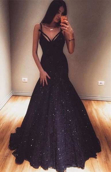 Marvelous Spaghetti Straps Sequined Mermaid Prom Dress_1