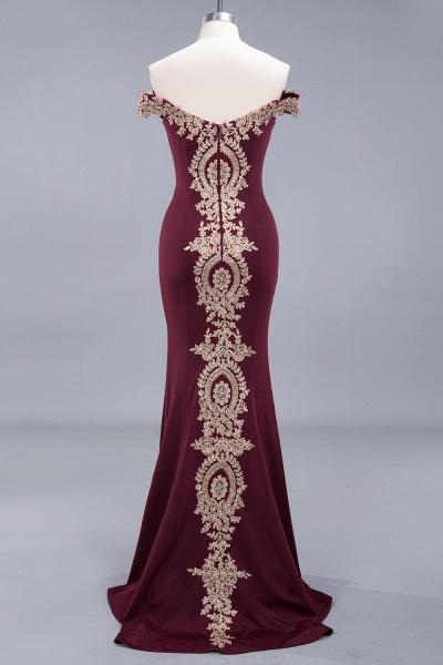 Charming Off-The-Shoulder Floor-Length Mermaid Appliques Zipper Bridesmaid Dress_5