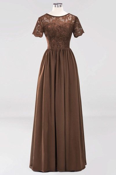 A-line Chiffon Lace Jewel Short-Sleeves Floor-length Bridesmaid Dress_12