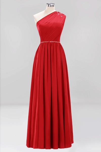 Elegant A-Line Burgundy Chiffon One-Shoulder Sleeveless Ruffles Floor-Length Bridesmaid Dresses with Beadings_8