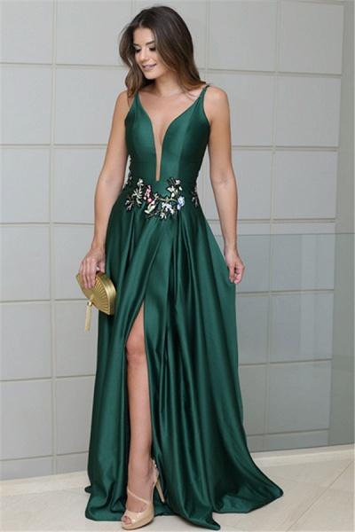 Latest V-neck Stretch Satin A-line Prom Dress_1