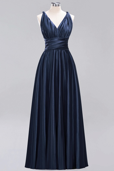 BM0143 Simple A-Line V-Neck Sleeveless Ruffles Floor Length Bridesmaid Dress_27
