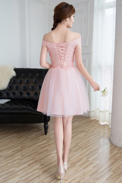 Modest Off-the-shoulder Tulle A-line Homecoming Dress_5