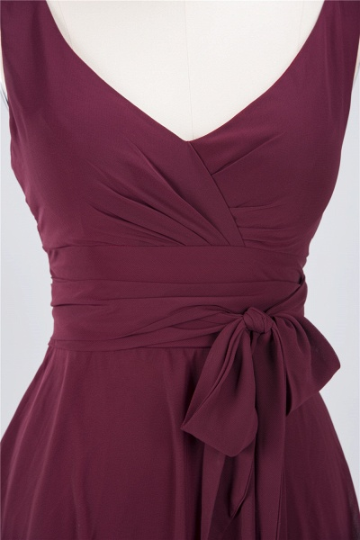 A-Line Chiffon Straps V-Neck Sleeveless Ruffles Knee-Length Bridesmaid Dress with Bow Sash_3