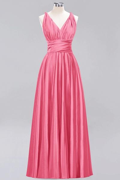 BM0143 Simple A-Line V-Neck Sleeveless Ruffles Floor Length Bridesmaid Dress_7