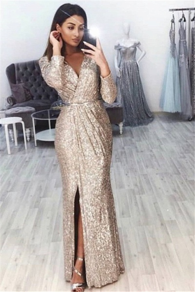 Awesome V-neck Sequined Mermaid Prom Dress_1