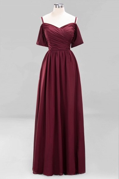 A-Line Chiffon V-Neck Spaghetti Straps Short-Sleeves Floor-Length Bridesmaid Dresses with Ruffles_10
