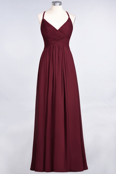 A-Line Chiffon Spaghetti-Straps V-Neck Sleeveless Floor-Length Bridesmaid Dress with Ruffles_35