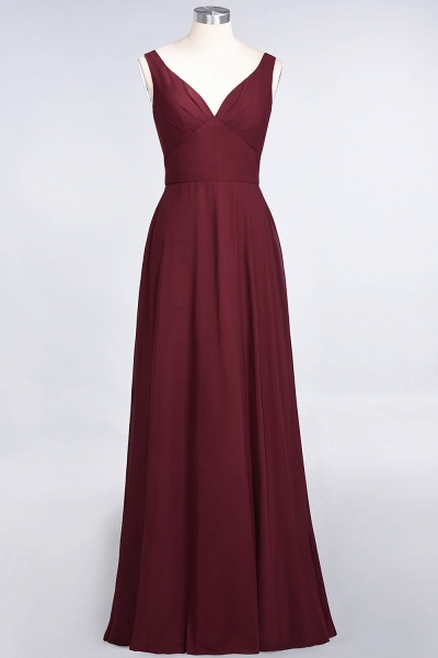 A-Line Chiffon V-Neck Straps Sleeveless Ruffles Floor-Length Bridesmaid Dress with Open Back_35
