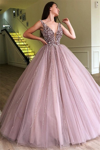 Amazing Straps Tulle Ball Gown Prom Dress_1