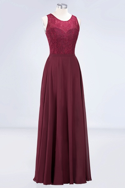 A-Line Chiffon Lace Jewel Sleeveless Hollowout Floor-Length Bridesmaid Dress_3