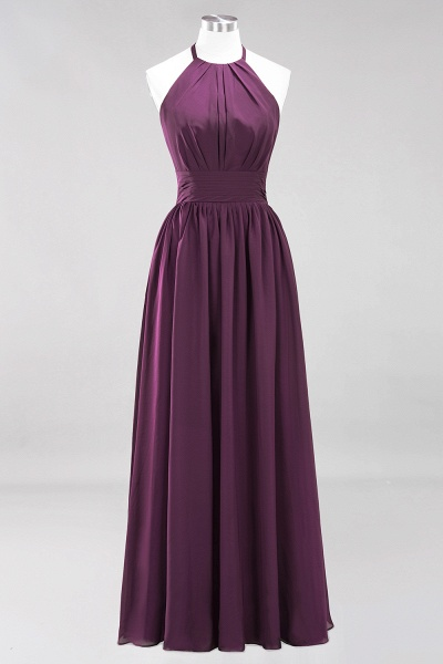 A-line Chiffon Appliques Halter Sleeveless Floor-Length Bridesmaid Dresses with Ruffles_19