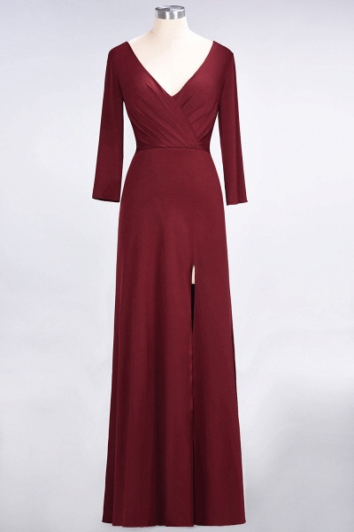 A-Line Spandex V-Neck Long-Sleeves Side-Slit Floor-Length Bridesmaid Dress with Ruffles_39