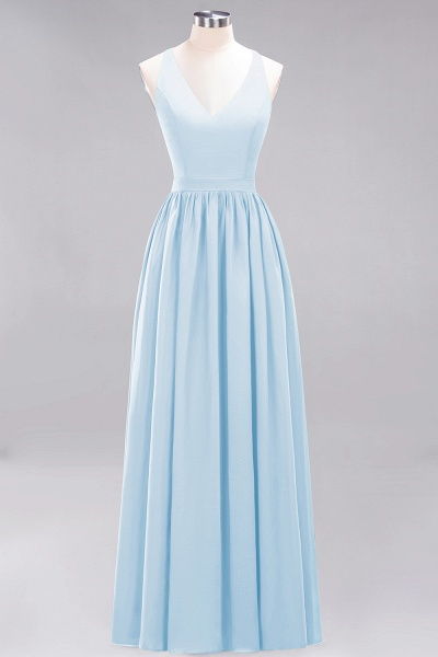 BM0152 Chiffon Lace V-Neck Sleeveless Straps Floor Length Bridesmaid Dress_22