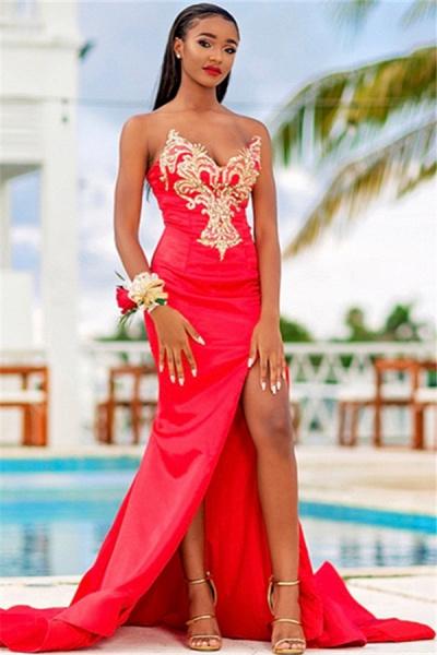 Excellent Strapless Stretch Satin Column Prom Dress_1
