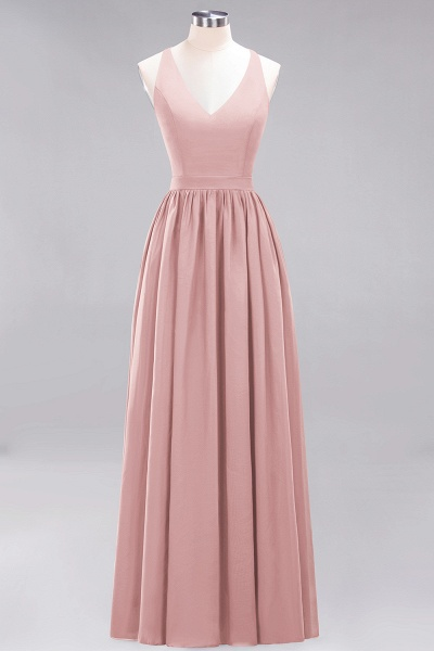 BM0152 Chiffon Lace V-Neck Sleeveless Straps Floor Length Bridesmaid Dress_6