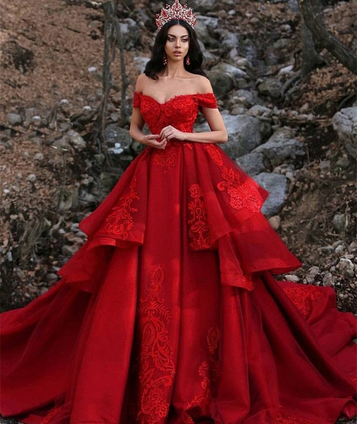 Fascinating Off-the-shoulder Satin Ball Gown Prom Dress_3