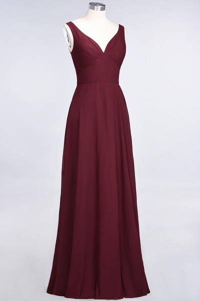 A-Line Chiffon V-Neck Straps Sleeveless Ruffles Floor-Length Bridesmaid Dress with Open Back_37