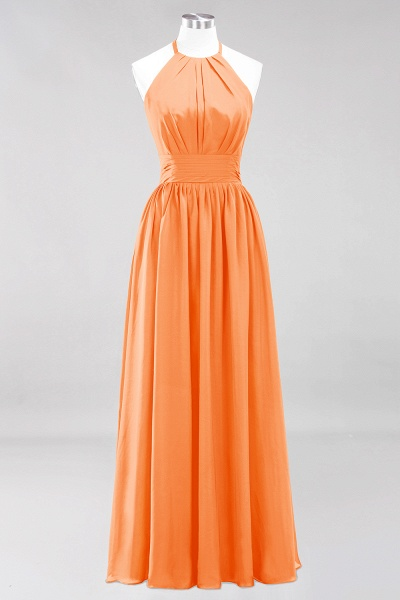 A-line Chiffon Appliques Halter Sleeveless Floor-Length Bridesmaid Dresses with Ruffles_15