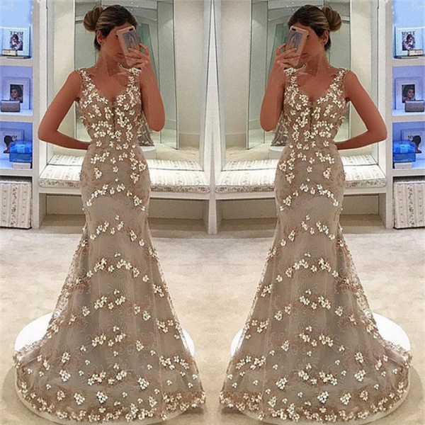 Fascinating Straps Tulle Mermaid Prom Dress_3