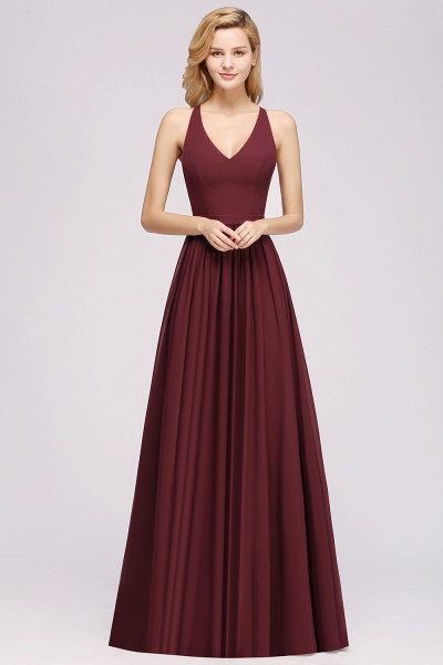 BM0152 Chiffon Lace V-Neck Sleeveless Straps Floor Length Bridesmaid Dress_35