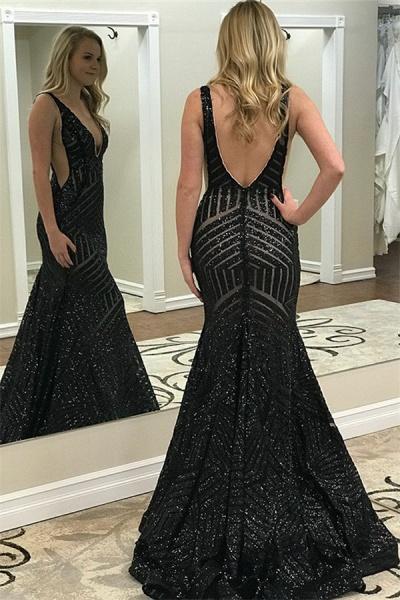 Precious V-neck Sequined Mermaid Prom Dress_2