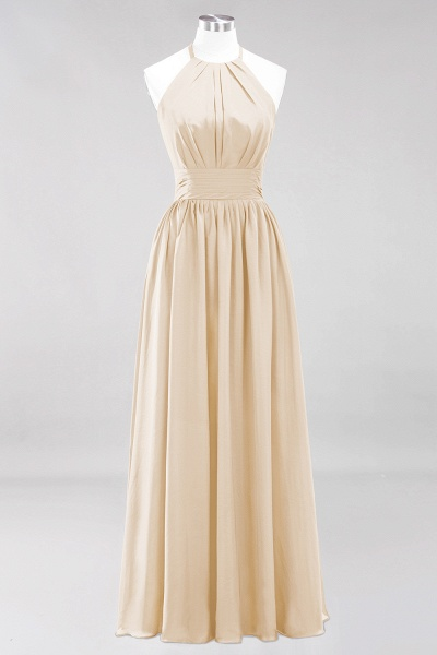 A-line Chiffon Appliques Halter Sleeveless Floor-Length Bridesmaid Dresses with Ruffles_14