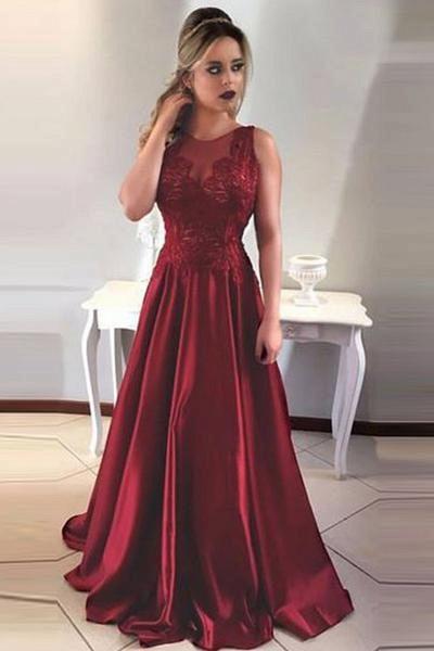 Glorious Jewel Stretch Satin A-line Prom Dress_1