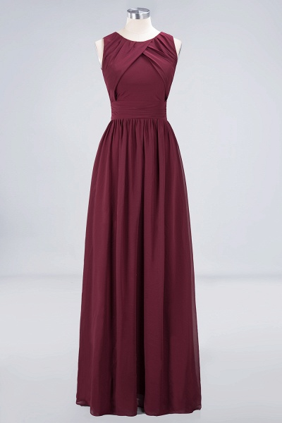 A-Line Chiffon Round-Neck Sleeveless Floor-Length Bridesmaid Dress with Ruffles_8