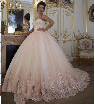Marvelous Strapless Tulle Ball Gown Prom Dress_1