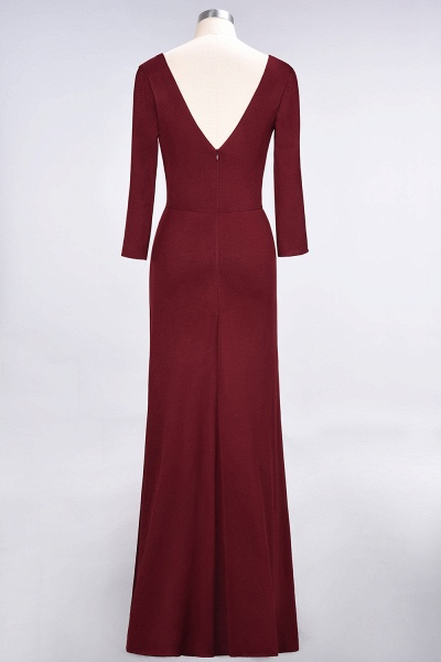 A-Line Spandex V-Neck Long-Sleeves Side-Slit Floor-Length Bridesmaid Dress with Ruffles_40
