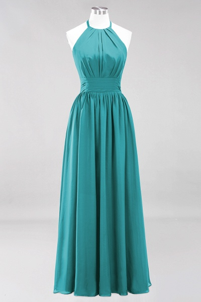 A-line Chiffon Appliques Halter Sleeveless Floor-Length Bridesmaid Dresses with Ruffles_31