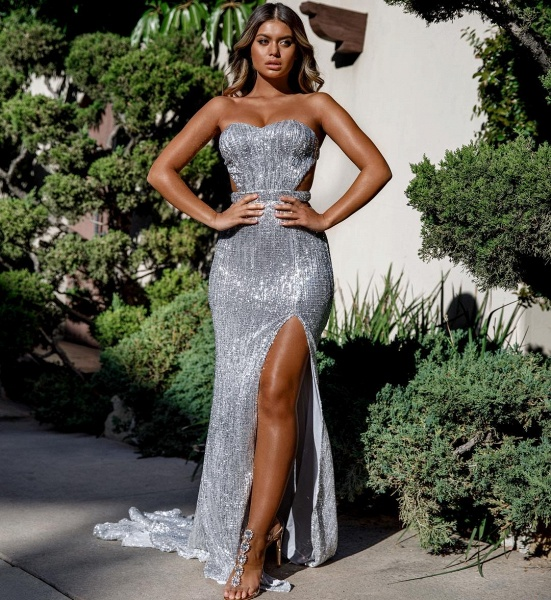Attractive Sweetheart Sequined Mermaid Prom Dress_5