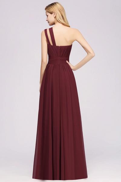Elegant A-Line Burgundy Chiffon One-Shoulder Sleeveless Ruffles Floor-Length Bridesmaid Dresses_2