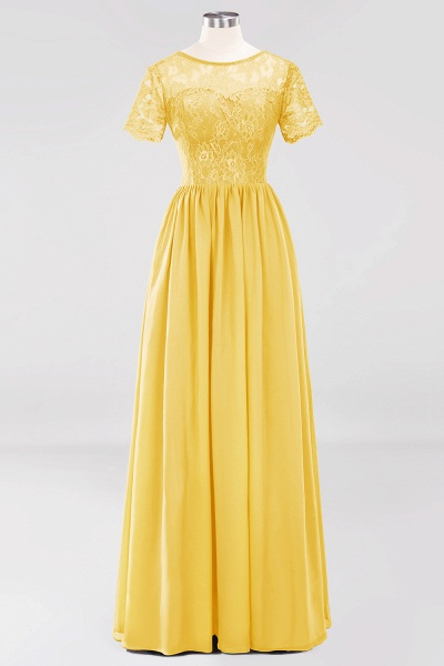 A-line Chiffon Lace Jewel Short-Sleeves Floor-length Bridesmaid Dress_16