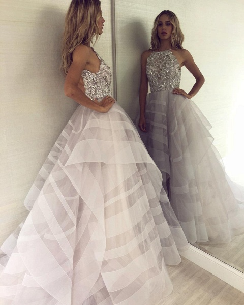 Fabulous Halter Organza A-line Prom Dress_3