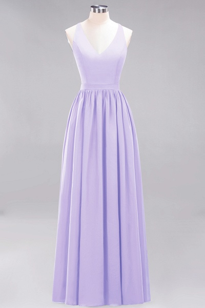 BM0152 Chiffon Lace V-Neck Sleeveless Straps Floor Length Bridesmaid Dress_20