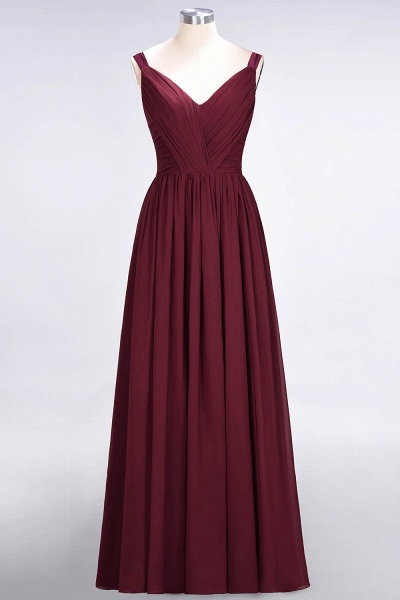 A-Line Chiffon Straps V-Neck Sleeveless Backless Floor-Length Bridesmaid Dress with Ruffles_43