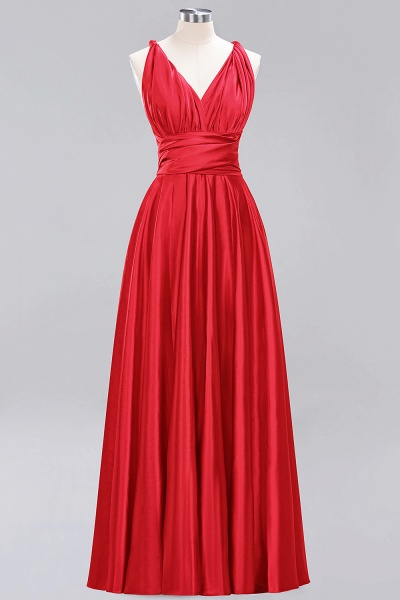 BM0143 Simple A-Line V-Neck Sleeveless Ruffles Floor Length Bridesmaid Dress_8